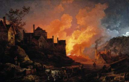 de Loutherbourg, Philip James, 1740-1812; Coalbrookdale by Night